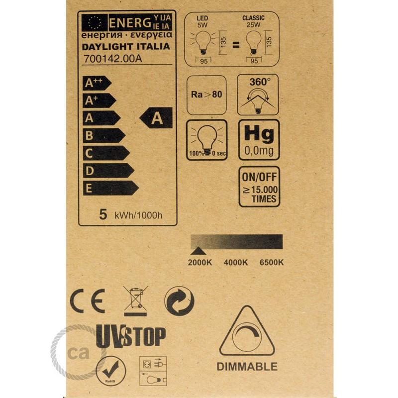 Lampadina Dorata LED Globo G95 Filamento Curvo a Doppio Loop 5W E27 Dimmerabile 2000K