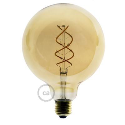 Lampadina Dorata LED Globo G125 Filamento Curvo a Spirale 5W E27 Dimmerabile 2000K