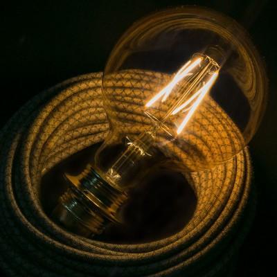 Lampadina Dorata LED Globo G125 Filamento Lungo 4W E27 Decorativa Vintage 2000K