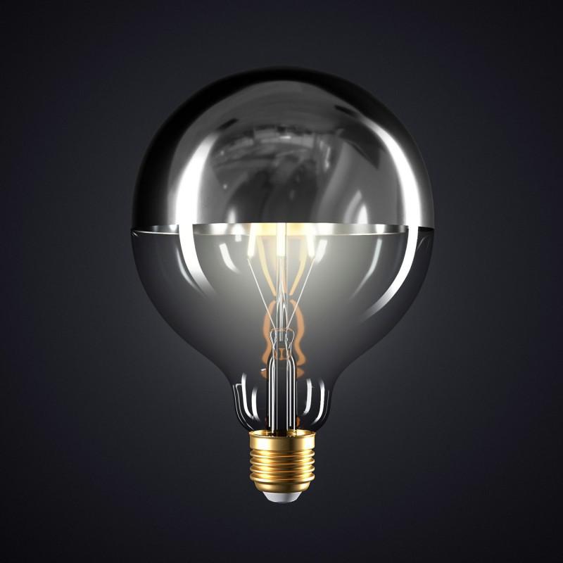 Lampadina LED Globo G125 Mezza Sfera Argento 7W E27 Dimmerabile 2700K