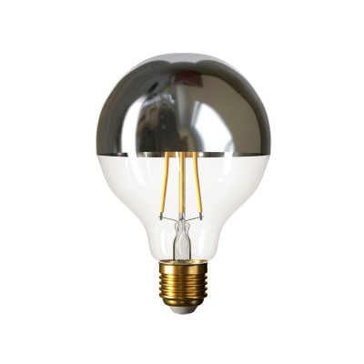 Lampadina LED Globo G95 Mezza Sfera Argento 7W E27 Dimmerabile 2700K