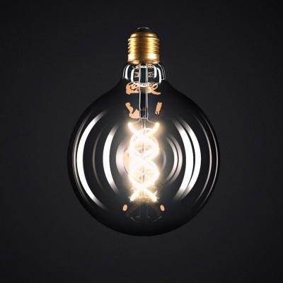 Lampadina Smoky LED Globo G125 Filamento Curvo a Spirale 5W E27 Dimmerabile 2000K