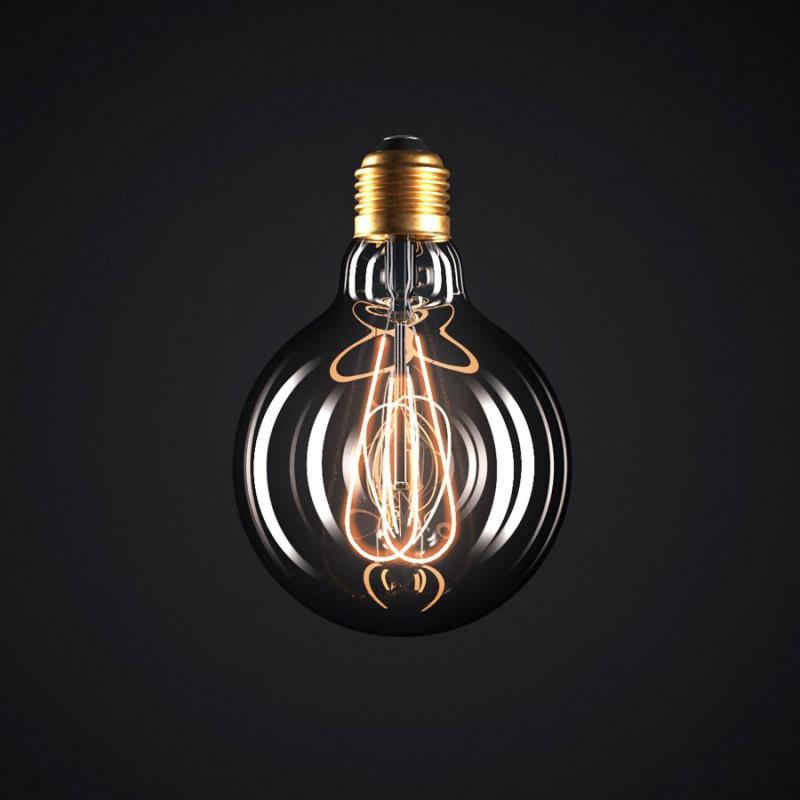 Lampadina Smoky LED Globo G95 Filamento Curvo a Doppio Loop 5W E27 Dimmerabile 2000K