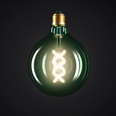 Lampadina Smeraldo LED Globo G125 Filamento Curvo a Spirale 5W E27 Dimmerabile 2200K