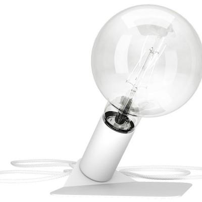 Magnetico Base, portalampada magnetico bianco con base in tinta e cavo tessile bianco, presa e accenditore trasparente.
