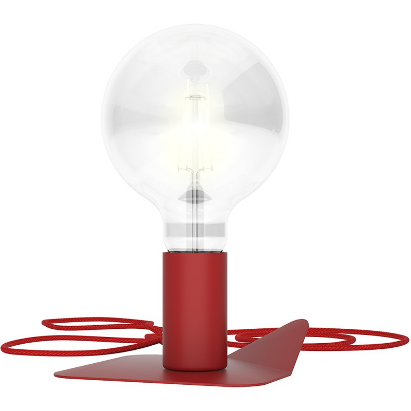 Magnetico Base, portalampada magnetico rosso con base in tinta e cavo tessile rosso, presa e accenditore trasparente.
