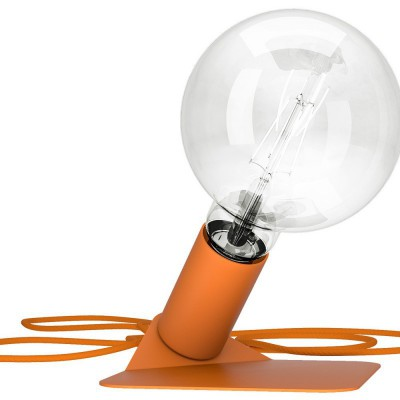 Magnetico Base, portalampada magnetico arancio con base in tinta e cavo tessile arancione, presa e accenditore trasparente.