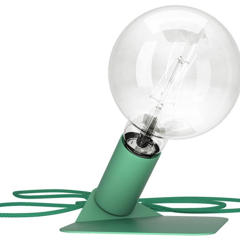 Magnetico Base, portalampada magnetico verde con base in tinta e cavo tessile verde, presa e accenditore trasparente.