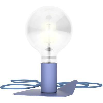 Magnetico Base, portalampada magnetico blu con base in tinta e cavo tessile blu avio, presa e accenditore trasparente.