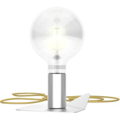 Magnetico Base, portalampada magnetico cromato satinato con base in tinta e cavo tessile oro, presa e accenditore trasparente.