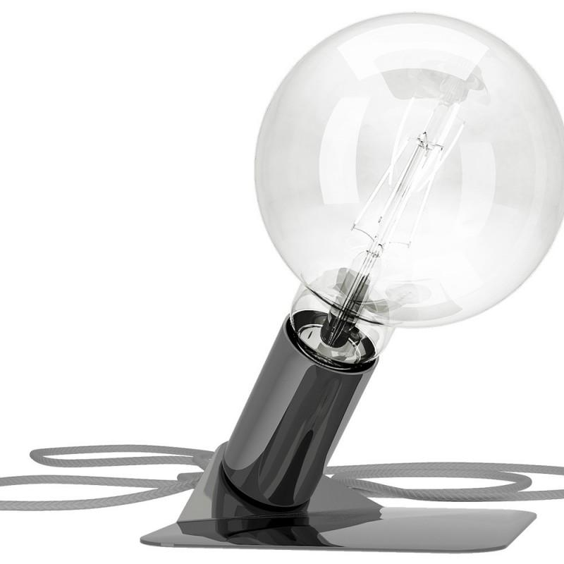 Magnetico Base, portalampada magnetico cromato nero con base in tinta e cavo tessile grigio, presa e accenditore trasparente.