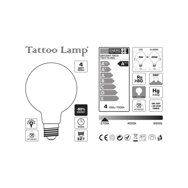 Lampadina LED Globo G125 Filamento Corto Linea Tattoo Lamp® Modello Cuore 4W E27 2700K